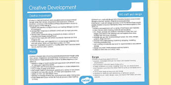 Welsh Curriculum Foundation Phase Creative Development Overview