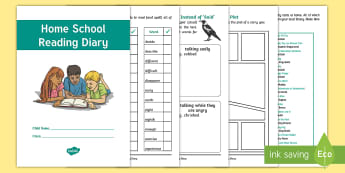 Y3/Y4 Home School Reading Diary - year 3, year 4, home learning, learning log, reading record