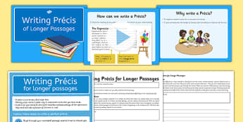 Writing Precis for Longer Passages Lesson Pack - precis, summary, research, abbreviation, own words, condense, paraphrase
