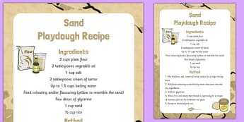 Sand Playdough Recipe - sand, playdough, recipe, eyfs, instructions