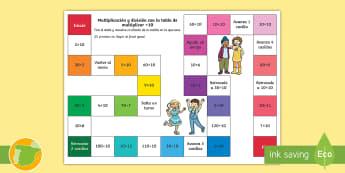 Juego de mesa: Multiplicación y división - x10 - multiplicar, dividir, mates, matemáticas, multiplciación, división, tablas de multiplicar, tabla