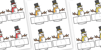 Editable Self Registration Labels (Snowmen) - Self registration, snowman, winter, register, editable, labels, registration, child name label, printable, snowflake, skis, ice skates, gloves, hat, ice, snow, skiing, snowboarding, sledging