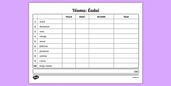Spelling List Éadaí 2 Irish Activity Sheet - Irish, worksheet