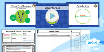 PlanIt Y6 Properties of Shapes Lesson Pack - Properties of Shape, parts of a circle, radius, diameter, circumference.