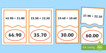 Decimal Number Addition Matching Cards - ACMNA128, Year 6 Maths, Add Decimals, Decimal Addition, Add Decimal Numbers, Decimal Number Addition