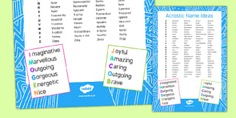 Acrostic Names Ideas Checklist
