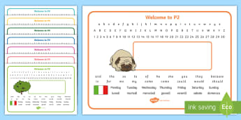 Welcome to P2 (with Italian) Desk Mat - start of year, name label, desk names, editable, start of P2, First Level,Scottish