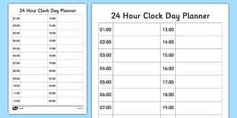 24 Hour Clock Day Planner - 24 hour clock, 24 hour, clock, hour, day planner, day, planner