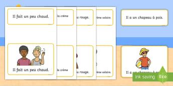 Cartes : Phrases simples de l'été - l'été, été, lecture, phrases, phrases simples, lire, Summer, reading, sentences, word cards, di