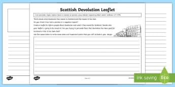 Scottish Devolution Design Your Own Leaflet Activity Sheet - Parliament, Democracy, Politics, Opinion Activities, Functional Texts, ,Scottish