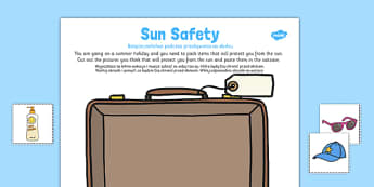 Sun Safety Cut and Paste Activity Polish Translation - sun, safe, holiday, hot, health, bodies, ourselves, heat, suncream, cream