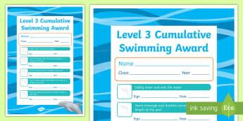 Level 3 Cumulative Swimming Certificate - Physical Education, Swimming, Aquatics, Level 3, certificates, awards, swim, learning, practice, ski