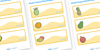 Handa's Surprise Editable Drawer-Peg-Name Labels - Handa's Surprise, Eileen Browne, resources, Handa, Akeyo, mango, guava, Africa, avacado, passion fruit, monkey, African animals, story, story book, story book resources, story sequencing, story resou