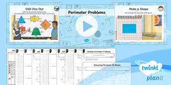 PlanIt Y3 Measurement Lesson Pack Perimeter (2) - measurement, perimeter, shape, polygons, measure the perimeter of simple 2D shapes, maths, Y3, KS2,