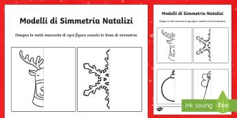 Modelli di Simmetria Natalizi - Natale, simmetria, immagine, disegno, linea di simmetria, natalizio, festivo