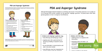 PDA and Asperger Syndrome: The Differences Adult Guidance - Pathological, Demand, Avoidance, autism, fact sheet