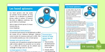 Fiche d'information : Les hand spinners - fidget, fact sheet, fact file, fiche d'information, fiche informative, reading, lecture, compréhen