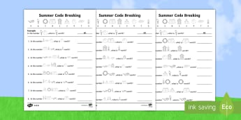 Differentiated Crack the Code Summer Activity Sheets - Worksheets, place value, addition, subtraction, Multiplication, division,