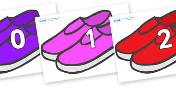 Numbers 0-50 on Shoes - 0-50, foundation stage numeracy, Number recognition, Number flashcards, counting, number frieze, Display numbers, number posters