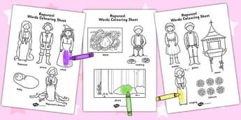 Rapunzel Words Colouring Sheet - colouring sheet, rapunzel, words