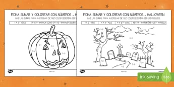 Halloween Themed addition to 20 Colour by Number Spanish - halloween, activity, sheet, worksheet, colour, number, recognition, skills