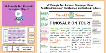 Y2 Recounts: Newspaper Report Model/ Example Text - Example Texts Y2, newspaper report, recount, exemplification, moderating, moderation, wagoll, SATs,