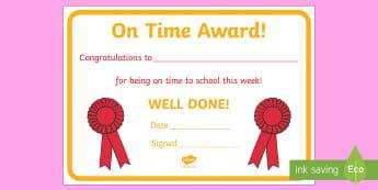 Punctually Award Certificate - punctually, punctual, on time, award, certificate, reward, well done, time, arrive, medal, rewards, school, general, certificate, achievement, certificates