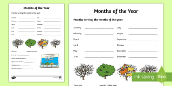 Months of the Year Activity Sheet - NI KS1 Numeracy, months, year, handling data, calendar, worksheet