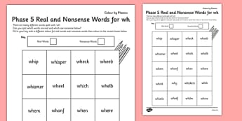 Phase 5 'wh' Colour by Phoneme Real and Nonsense Words - phase 5