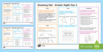 Year 4 Geometry Differentiated Maths Mats - Assessment, Cube, Square, Prism, Rectangle