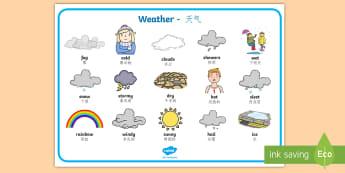 Weather Word Mat English/Mandarin Chinese - Weather Word Mat - Weather display, KS1, word mat, mats, writing aid, Weather, weather chart, weathe