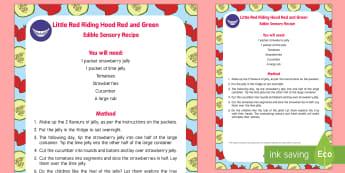 EYFS Little Red Riding Hood Edible Sensory Recipe - Little Red Riding Hood, baby, babies, baby, babies, food, red, green, sensory, jelly, recipe