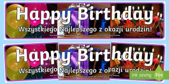 Birthday Photo Display Banner English/Polish - Happy Birthday Photo Display Banner - happy birthday, photo display banner, photo banner, display ba