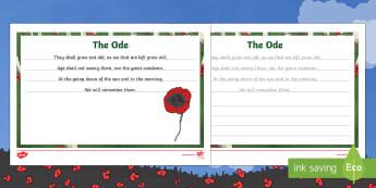 Anzac Day Ode Handwriting Practice Activity Sheets - English Australia - Australian Requests, Anzac Day, Ode, Handwriting, Practice, english, writing, poppies, first world w
