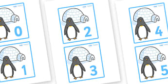 Penguins and Igloos Flashcards (0-50) -  Winter, numeracy, counting, flashcards, flashcard, number words, polar, arctic, display, winter words, Word card, flashcard, snowflake, snow, winter, frost, cold, ice, hat, gloves