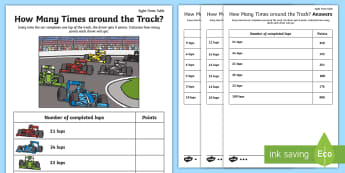 How Many Times around the Track? 8 Times Table Activity Sheet - Multiplication, Singapore, Grand Prix, Formula One, Motor racing, worksheet