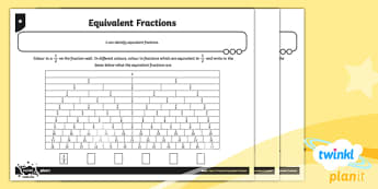 PlanIt Y3 Fractions Recognise and Show Equivalent Fractions Home Learning - Fractions, homework, equivalent, equal to, equal fractions, fraction wall