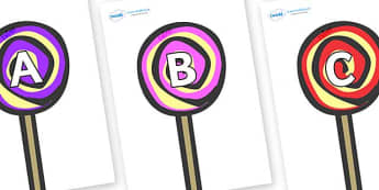 A-Z Alphabet on Lollipops to Support Teaching on The Very Hungry Caterpillar - A-Z, A4, display, Alphabet frieze, Display letters, Letter posters, A-Z letters, Alphabet flashcards