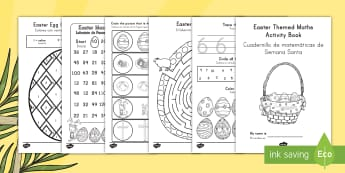 Easter Themed Maths Activity Book US English/Spanish (Latin) - Easter Themed Maths Activity Book - easter, maths, activity, book, easer, easster, eatser, eastere,