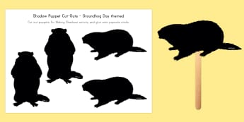 Groundhog Day Shadow Puppet Cut-Outs - US, America, shadow, puppet, role play, act, making shadows, shadow, light, dark