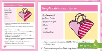 Herztasche Papiermodell - Valentinstag, Vorschule und Kindergarten ,1./2. Klasse, Feste und Feiern,Malen, Basteln und Kneten,B