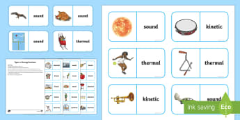 Types of Energy Dominoes - science games, science dominoes, thermal energy, sound energy, kinetic energy, chemical energy, forc