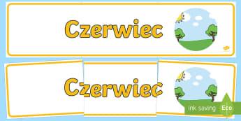 Banner na gazetkę Czerwiec - miesiące, miesięcy, nazwy, miesiąc, czerwiec, lato, pory, roku, rok, wiosna, jesień, zima, maj,
