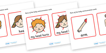 Parts Of The Body, communication, cards, flashcards, special needs