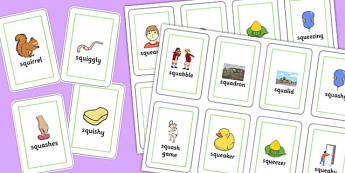 Two Syllable SQU Playing Cards - speech sounds, phonology, articulation, speech therapy, cluster reduction, complex clusters, three element clusters