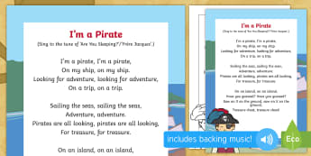 I'm a Pirate Song - EYFS, Early Years, EAD, Expressive Arts and Design, singing, Pirates, treasure.