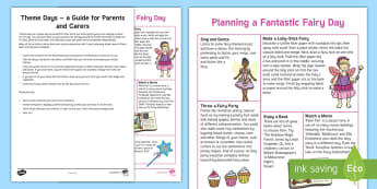Fairy Theme Day Activity Sheet - worksheet, magic, stories, days in, theme day, parents, family, holidays