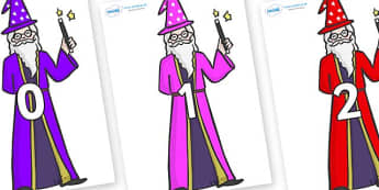 Numbers 0-31 on Wizards - 0-31, foundation stage numeracy, Number recognition, Number flashcards, counting, number frieze, Display numbers, number posters