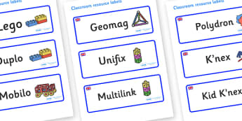 Great Britain Themed Editable Construction Area Resource Labels - Themed Construction resource labels, Label template, Resource Label, Name Labels, Editable Labels, Drawer Labels, KS1 Labels, Foundation Labels, Foundation Stage Labels