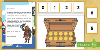 Pirate Treasure Counting Activity Resource Pack - EYFS, Early Years, Mathematics, Maths,  40-60, Selects The Correct Numeral To Represent 1 To 5, Then